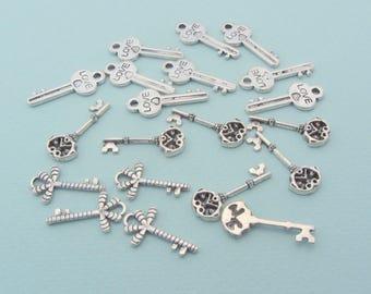 Set of 20 key charms - Silver metal - Nickel free
