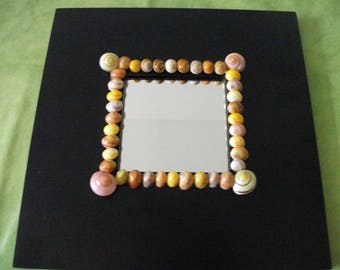 Mirror (10 cm x 10 cm) white frame with painted striped shells colors tart 25.5 cm x 25.5 cm