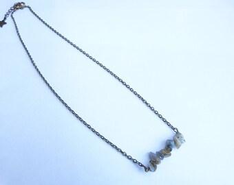 """Bronze necklace Gothic esoteric """"Cleophas"""" bronze stone labradorite semi precious gem"""