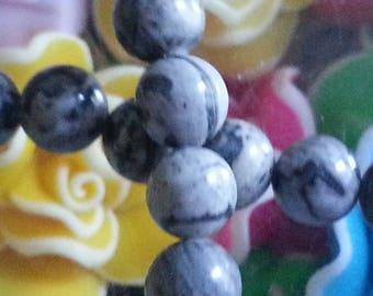 20 beads gray Jasper and 6mm diameter, hole 1 mm
