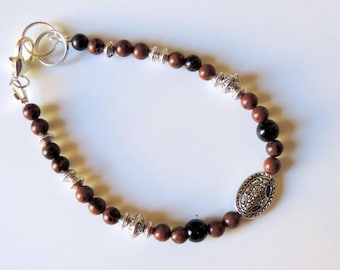 Red Obsidian beads and silver beads bracelet
