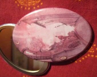 Illustrated oval mirror - Fuchsia city