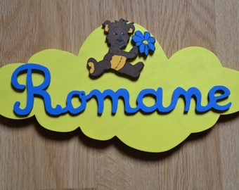 Deco door plate with personalized child's name