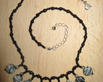 Reminiscence of grey and black Jasper necklace and black wood beads