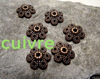 antiqued copper 6 Cup: 10mm, thickness: 3mm, hole: 1.5 mm
