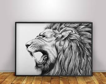 Lion Roar - Digital Print - Home Decor - Wall Art - Poster - Illustration - Gift - Present