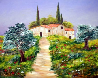 """Painting on canvas """"Landscape of Provence"""""""