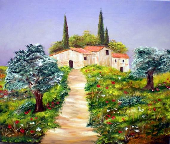 Peinture sur toile paysage de provence - Paysage peinture facile ...