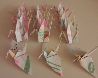 Set of origami cranes: Back to School Collection