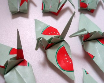 Set of origami cranes: watermelon Collection