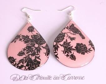 Black and pink floral Stud Earrings