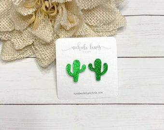 Glitter Cactus Acrylic Stud Earrings