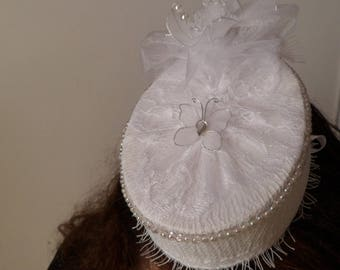 fascinator Hat wedding lace, beads and nylon NET