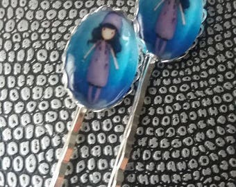 Hair clips in silver and cabochon
