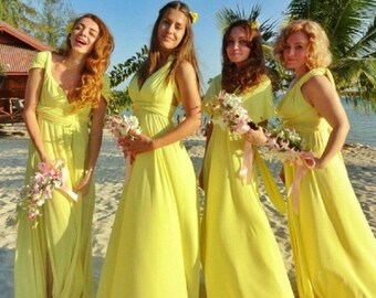 FREE SHIPPING Promotion! Light Yellow LONG Maxi Infinity Dress Gown Convertible Multiway Wrap Dress Bridesmaid Dress Evening Dress