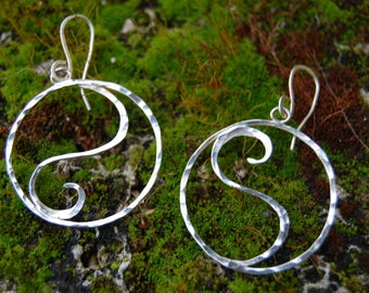 yin yang sterling silver wire earrings