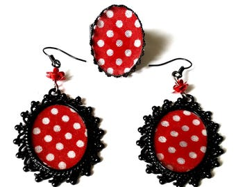 """Finery """"Musette"""" black frame baroque, cotton red polka dots """"polka"""""""