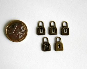 5 charms padlock lock bronze 15 x 9 mm