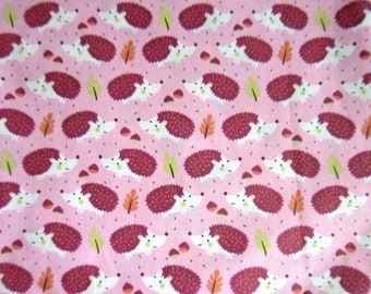100% cotton fabric old pink pattern purple hedgehogs