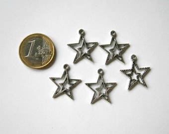 set of 5 charms silver metal star 23 x 21 mm