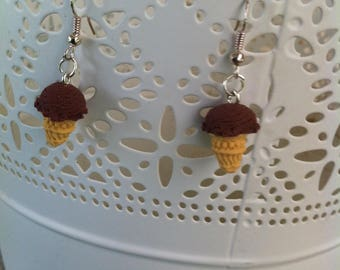 Chocolate ice cream cone earrings