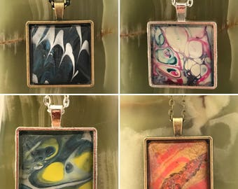 Square painting glass pendants