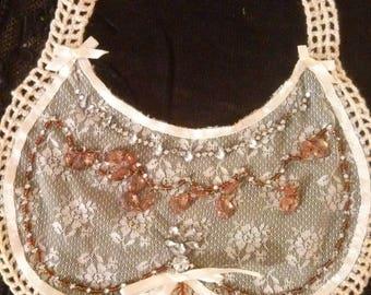 Bib, ecru color lace collar