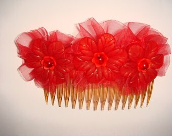 hair ornament comb large flower organza Ribbon