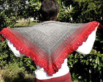 Great summer shawl, stole women crochet cotton in shades of gray, red, Burgundy, shoulder-warmer, shawll