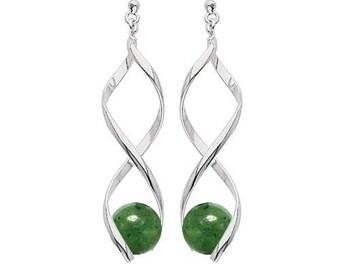 Silver plated swirl earrings - aventurine