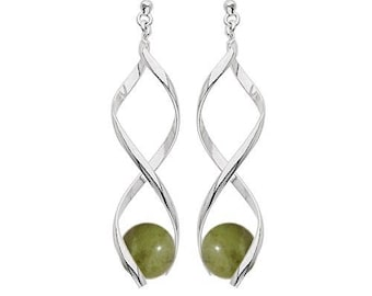 Silver plated swirl earrings - chrysoprase