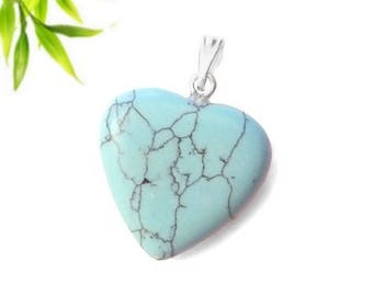 Silver plated - turquoise heart pendant