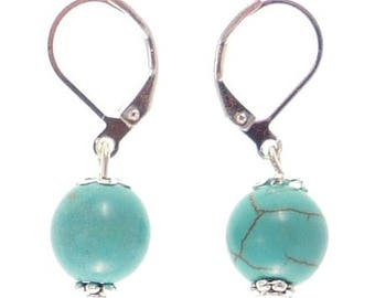 Earrings sleepers silver plated - turquoise
