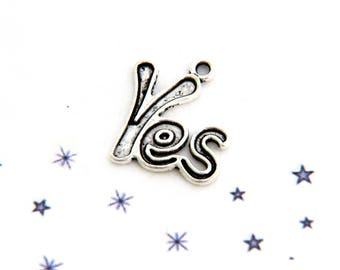 YES European manufacturing silver tinted metal charm pendant