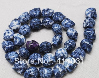 Pearl agate skull 13 * 10 mm, set 2