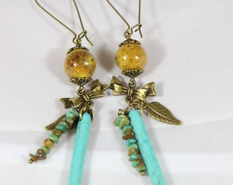 beautiful earrings with ceramic bead and turquoise dangle earrings, 11 cm