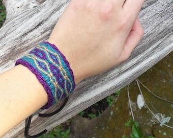 Jewel Tone Pattern  Bracelet, Tablet Weaving, Card Weaving, Elastic or Ties