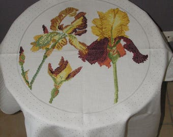 White square tablecloth with embroidered irises