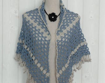 Shawl or scarf / blue and linen crochet