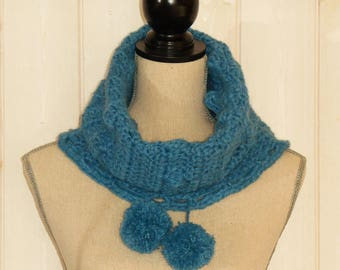 Blue tassel crocheted Snood