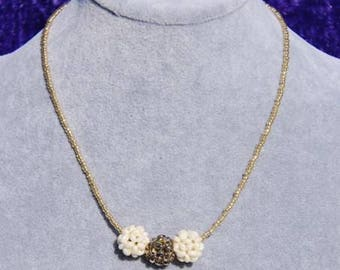 Beautiful Ivory and Gold Cluster Necklace