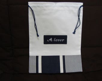 "travel pouch embroidered ""Washing"" Navy and white striped base"