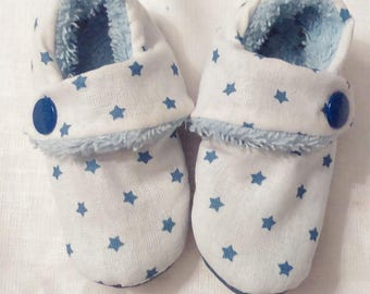 Slippers made of white fabric, Blue Star and sponge