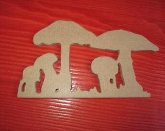 shaped wood melamine two nine mushrooms