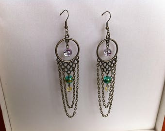 Bronze earrings with colorful beads