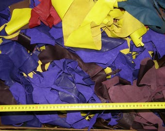 Various color lambskin leather scraps