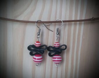 Striped - red resin beads and recycled bike tube earrings