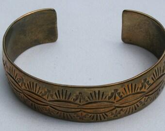 Vintage Navajo Brass Cuff Bracelet