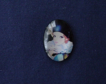 Cabochon glass 40 x 30 mm woman with Dove