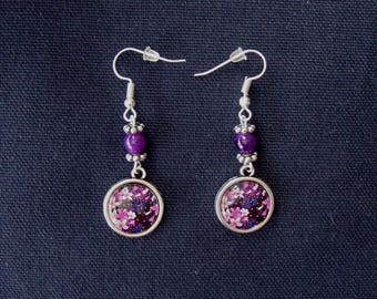 Floral earrings shades of purple